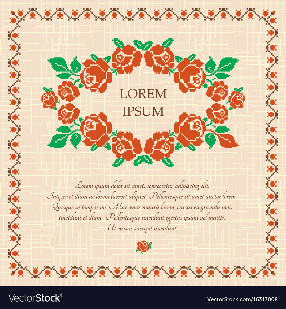Embroidered roses background vector image