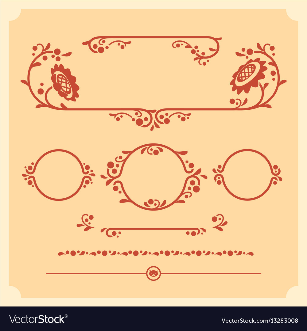 Set of decorative floral elements for vector image