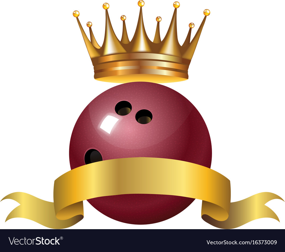 Bowling king champion symbol with a golden crown vector image
