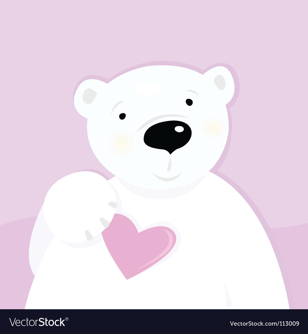 love heart vector. Polar Bear With Love Heart