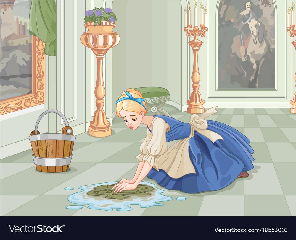 Sad cinderella cleaning royalty free vector image sad cinderella cleaning vector image voltagebd Gallery