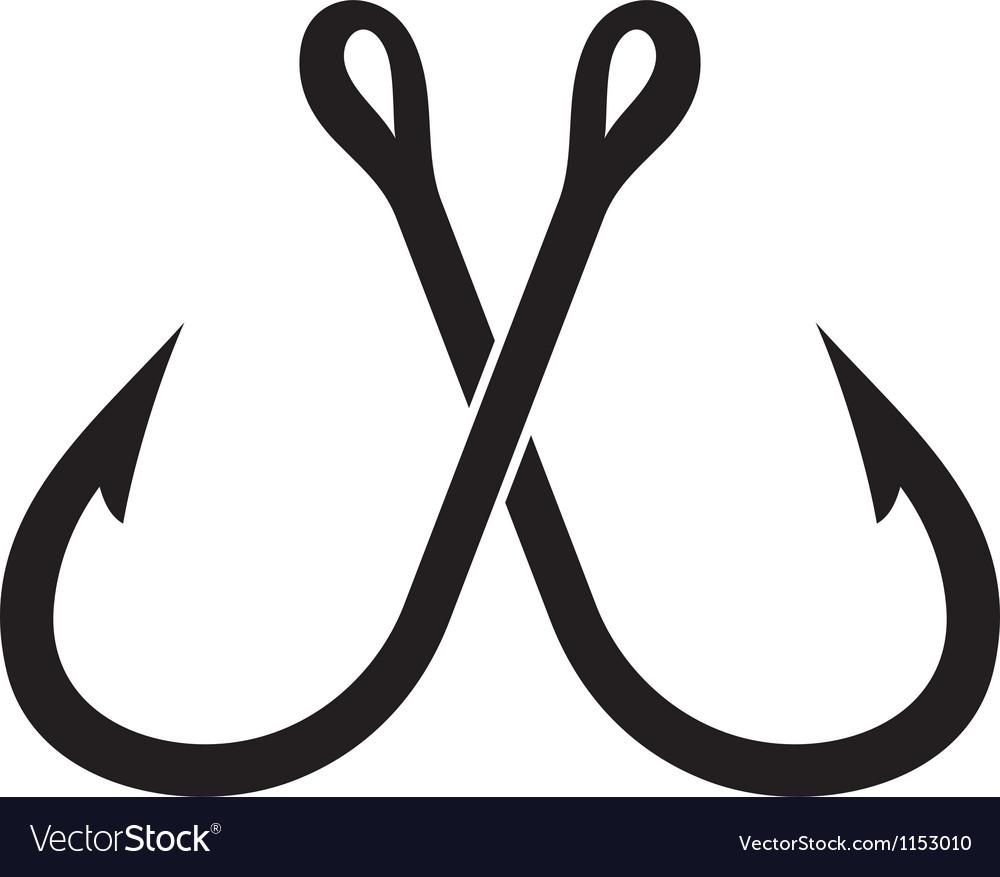 Two crossed fishing hook vector image