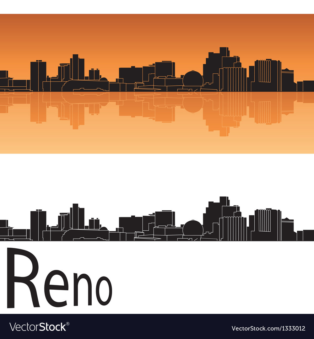 Reno skyline in orange background vector image
