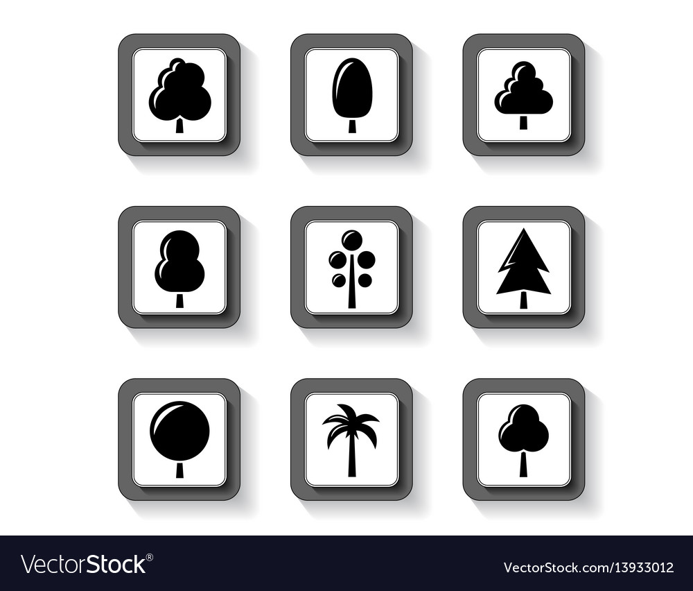 Trees on buttons set vector image