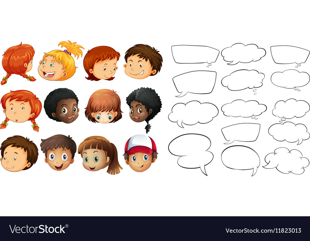 Kids and speech bubble templates vector image
