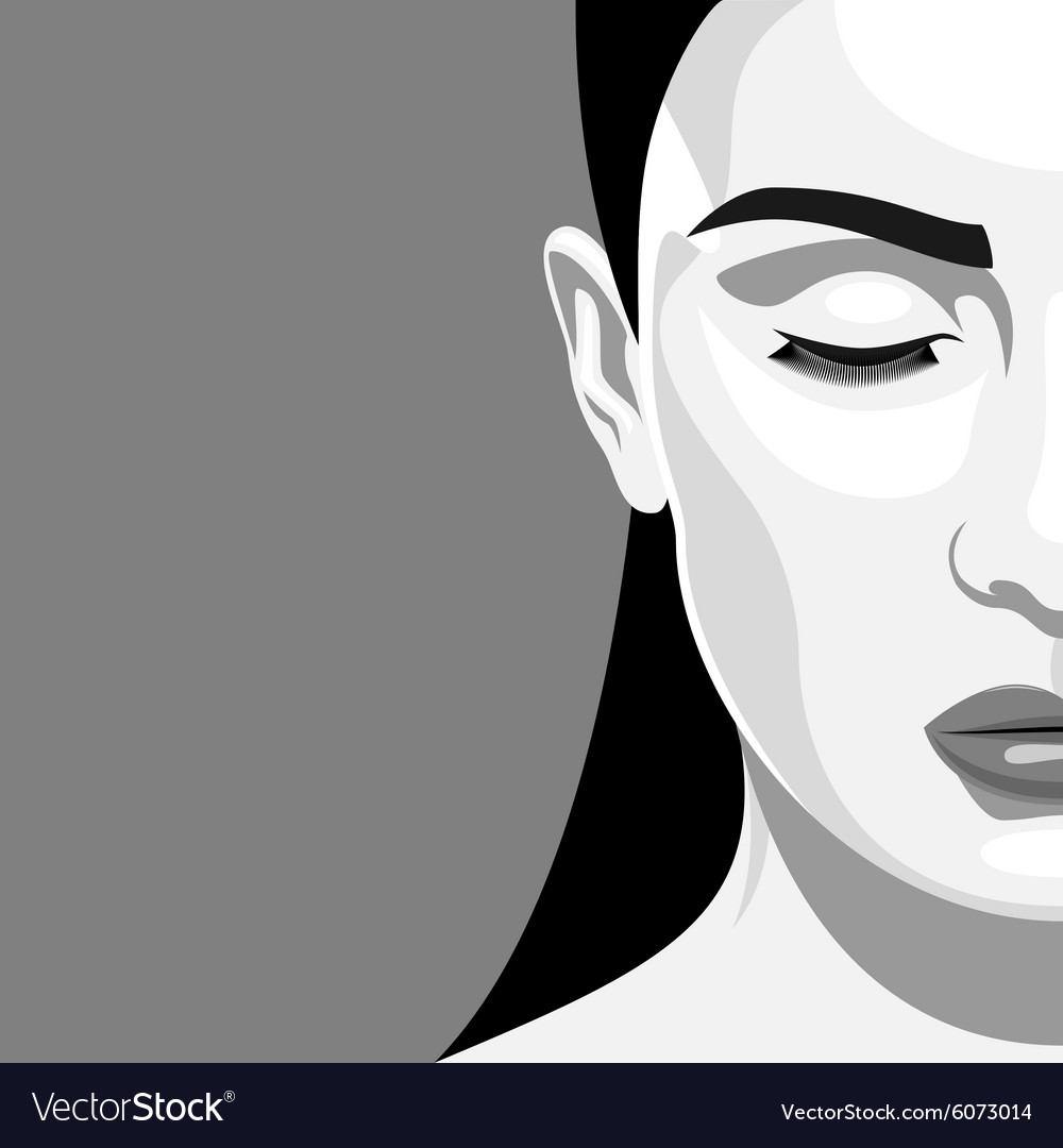 Half Face Portrait Beauty Woman With Closed Eyes Vector Image