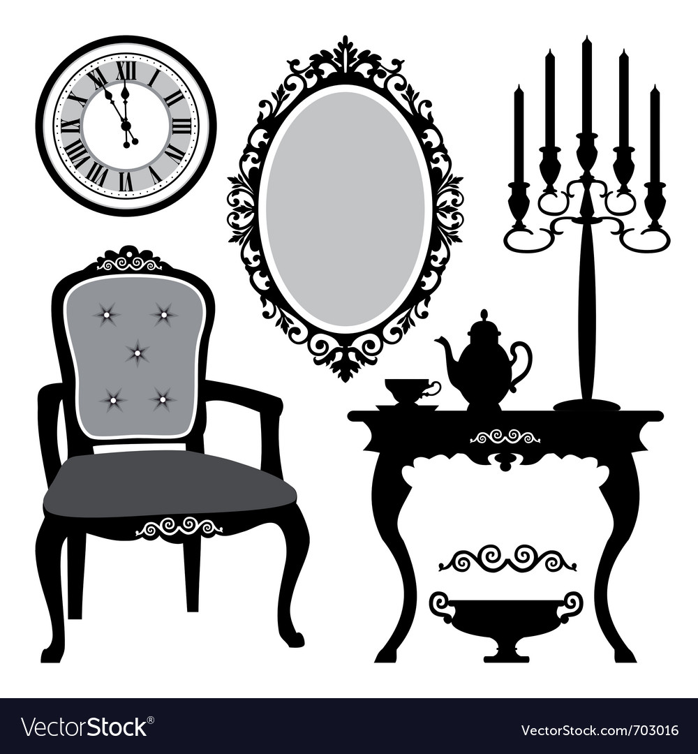 Antique chair silhouette - Antique Interior Objects Vector Image