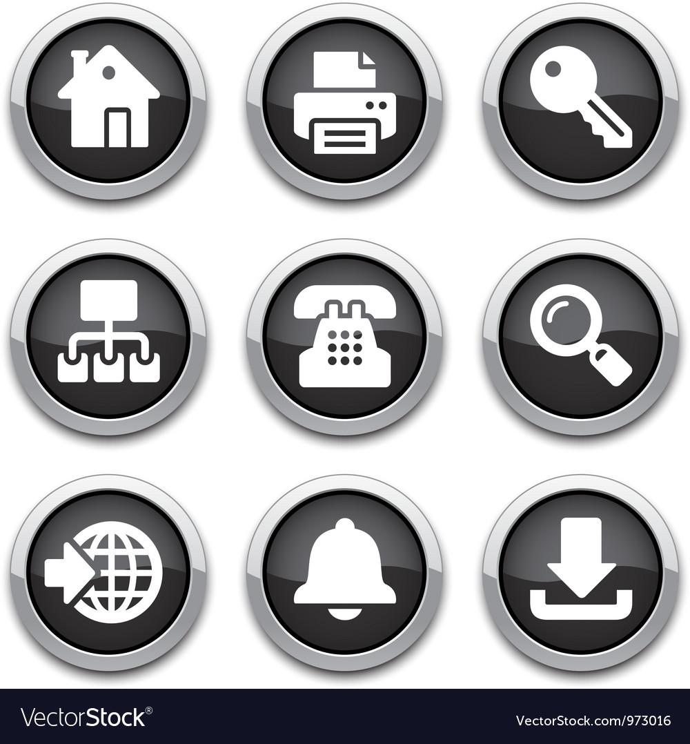 Black internet buttons vector image