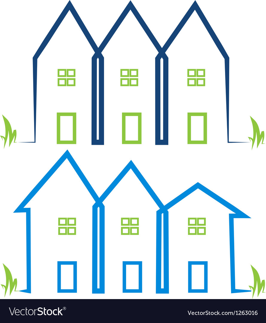 Real estate houses logos vector image