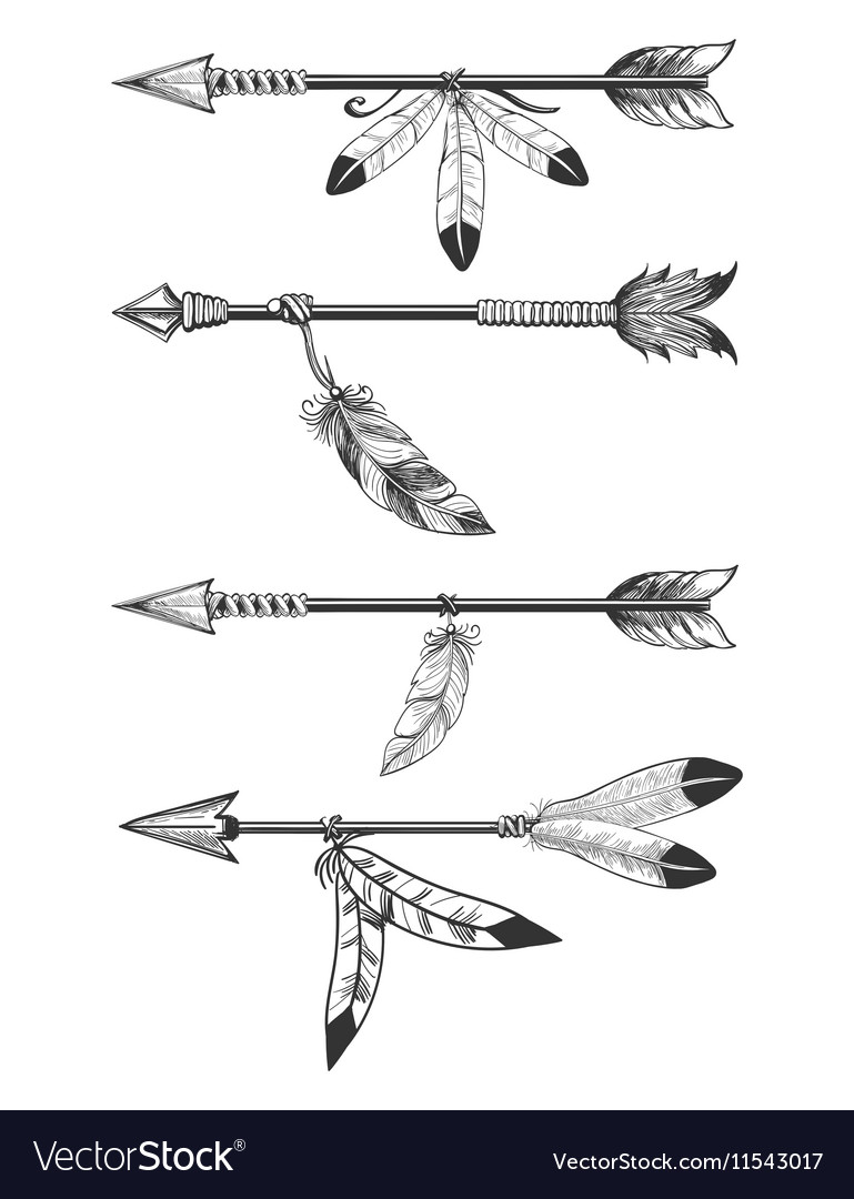Arrows with feathers and beads vector image