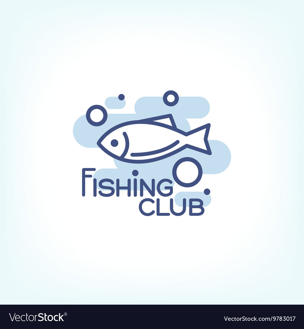 Fish point logo or badge template vector image