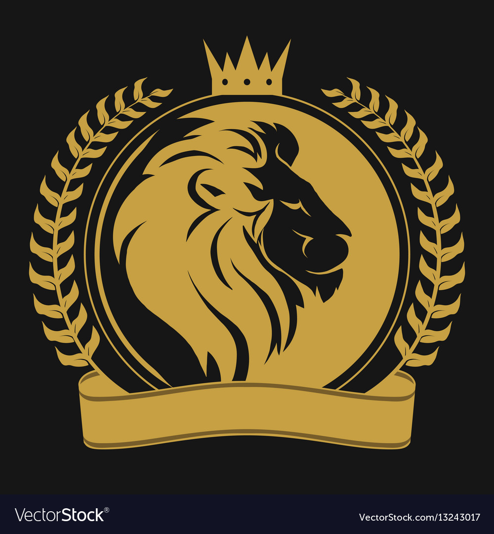 Lion head with crown logo vector image