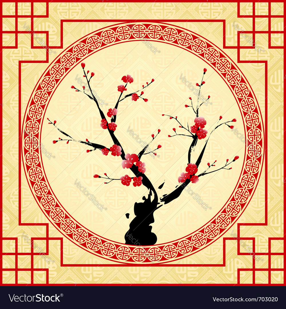 Oriental style painting vector image
