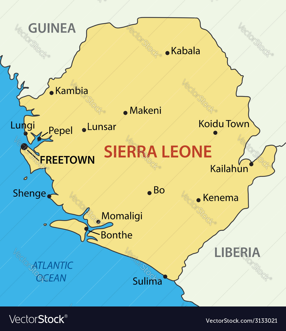 Republic of Sierra Leone map Royalty Free Vector Image