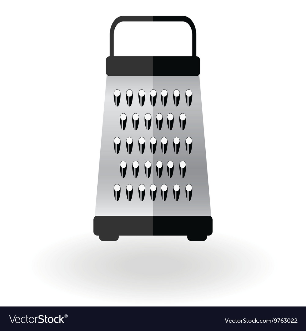 Grater Metallic Icon Logo Sign Kitchen Equipment Vector Image
