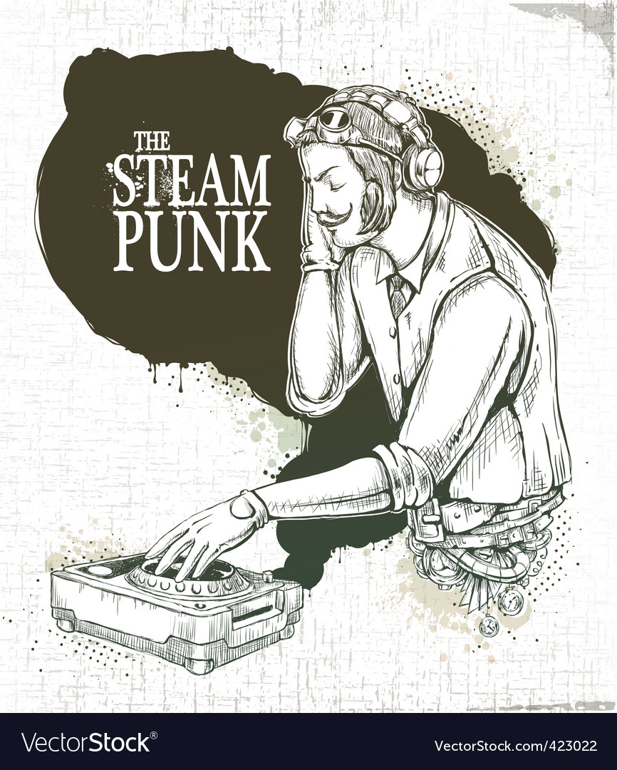 Steampunk musical poster vector image
