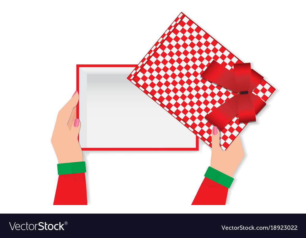 Top view of woman hands holding a empty gift box vector image