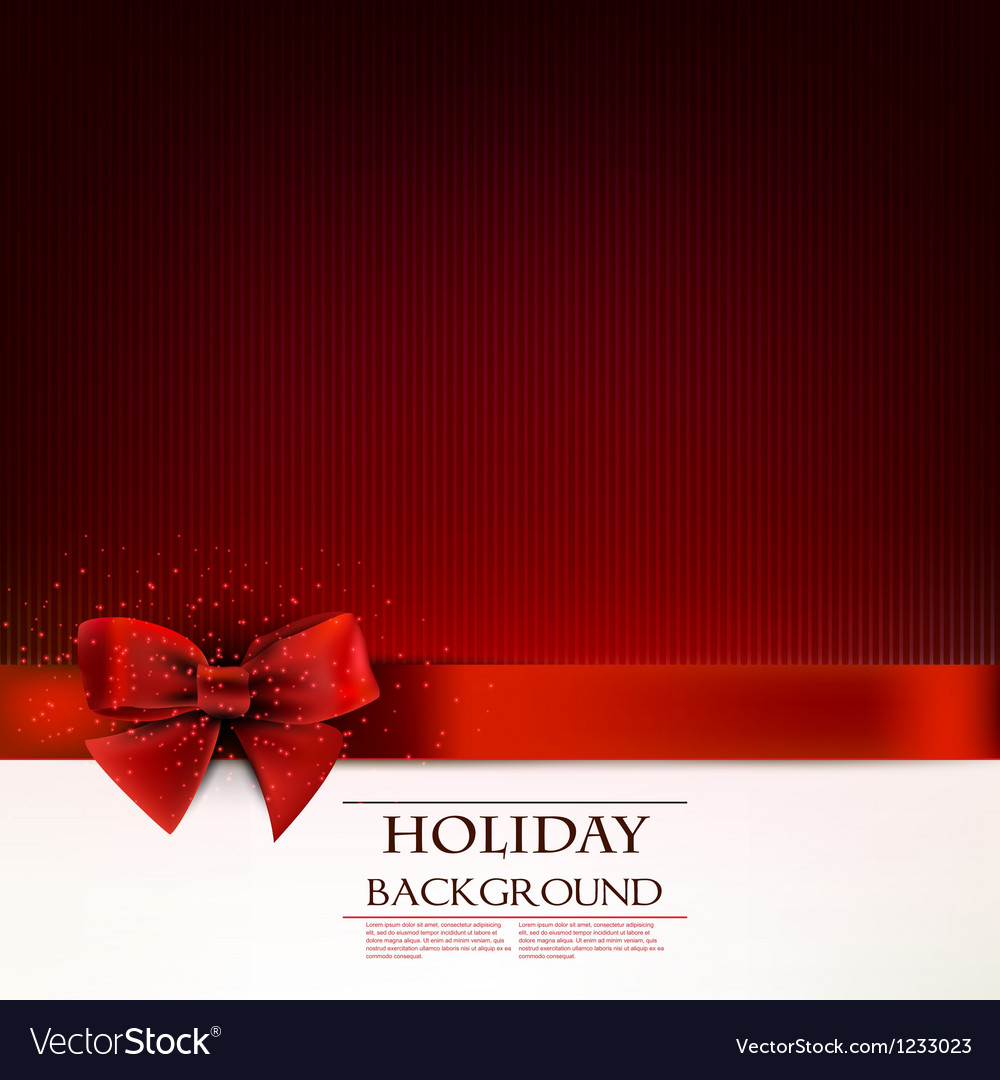Elegant holiday background with red bow and space vector image