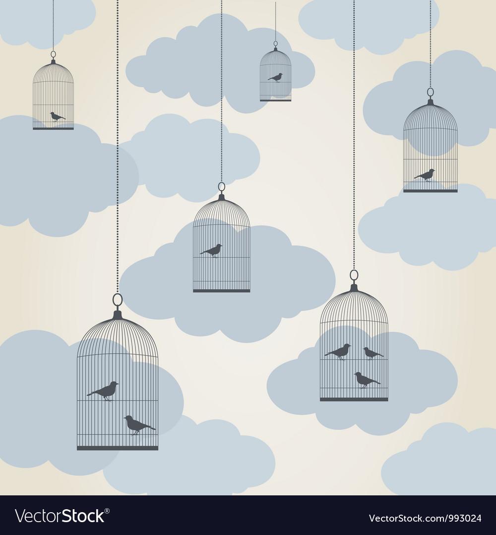 Birdie in a cage vector image