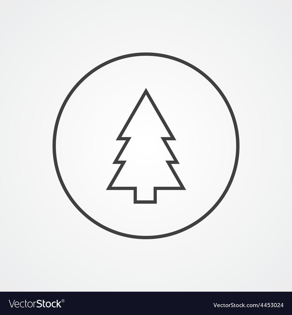 Fir-tree outline symbol dark on white background Vector Image