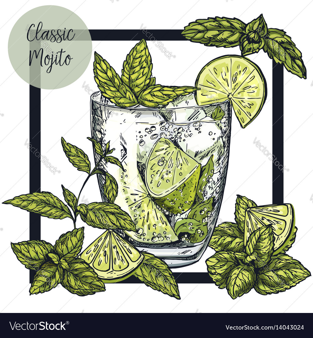 Square framed card with classic mojito vector image