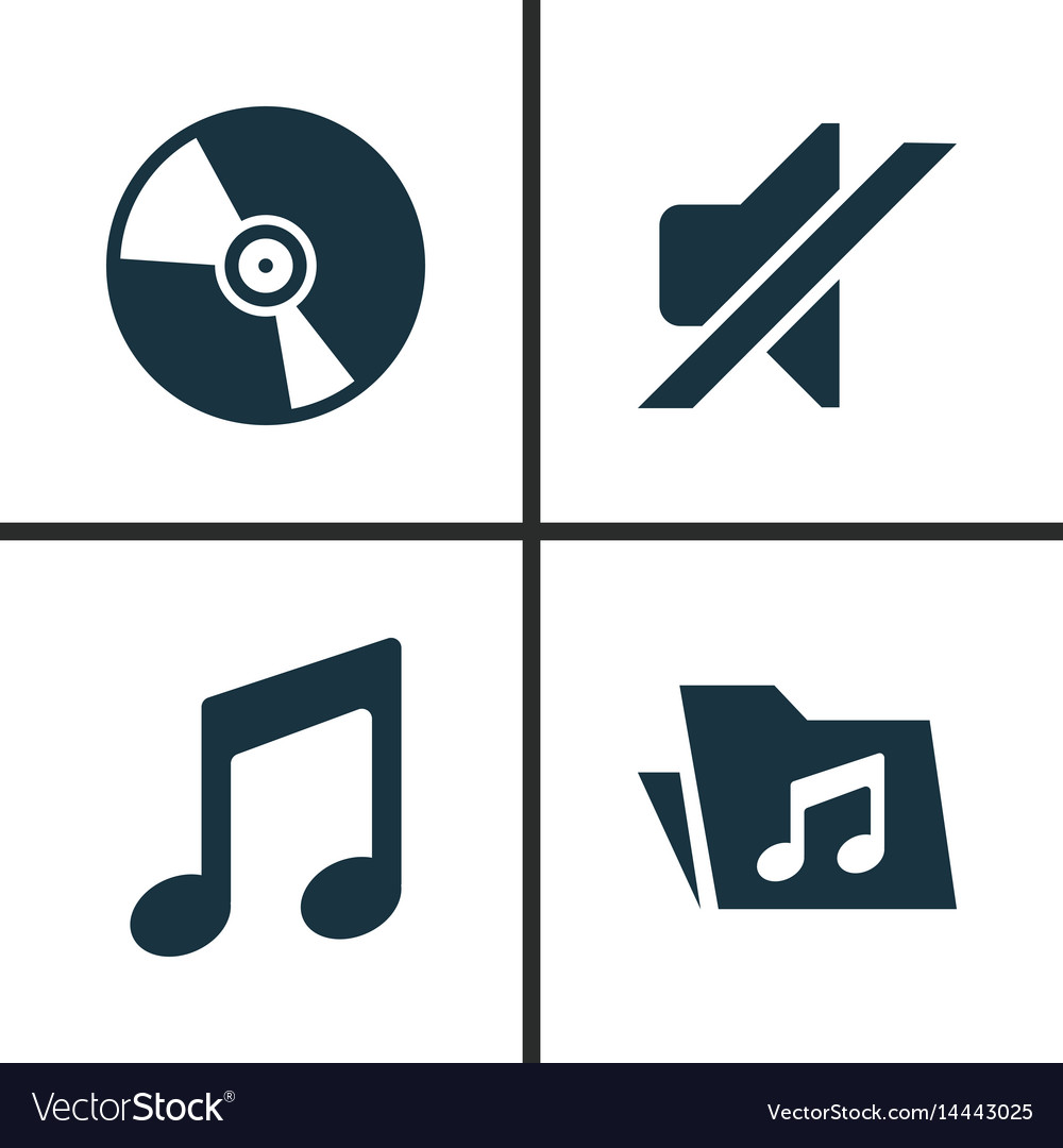 Music icons set collection of silence cd vector image