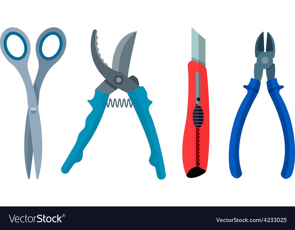 Set cutting instrument vector image