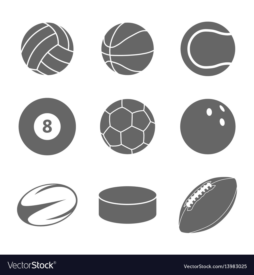 Sport balls icon set on white background vector image