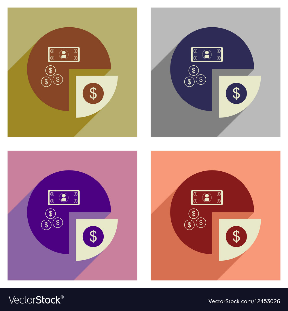 Concept of flat icons with long shadow financial vector image