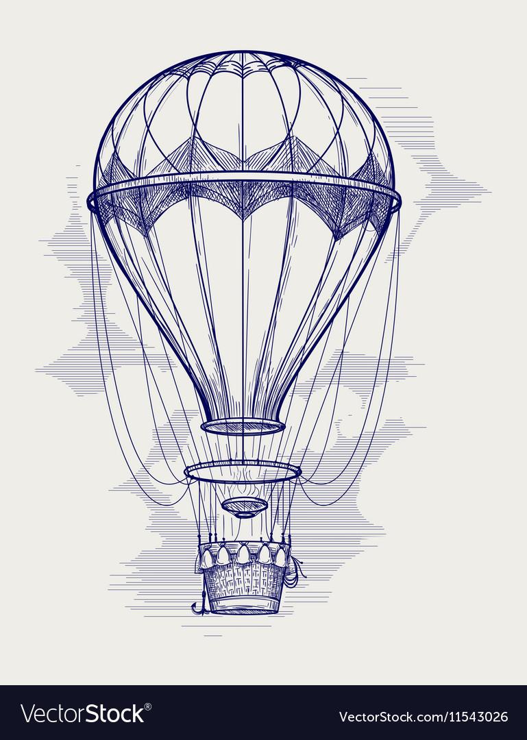 Hot air balloon ball pen sketch vector image