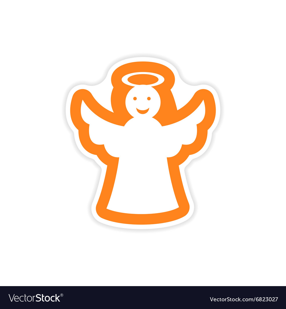 Paper sticker on white background Christmas angel