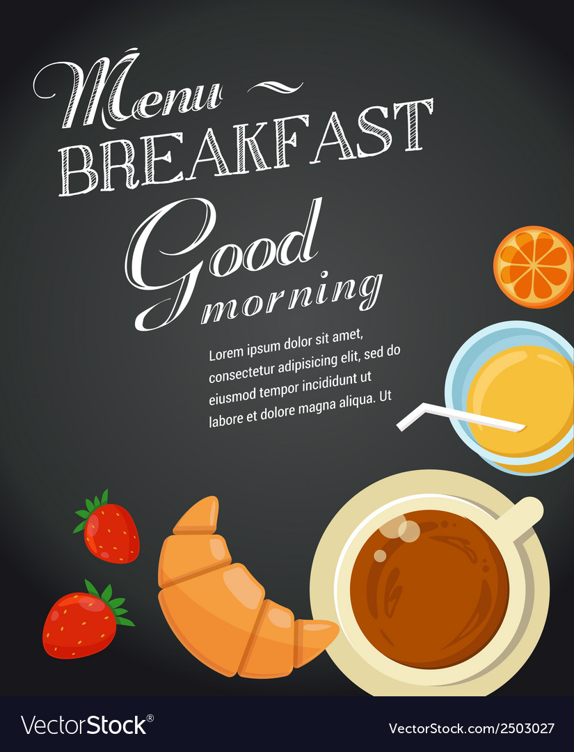 Perfect Breakfast Menu Template Vector Image  Breakfast Menu Template
