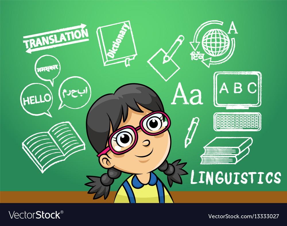 School girl write linguistics sign object in vector image