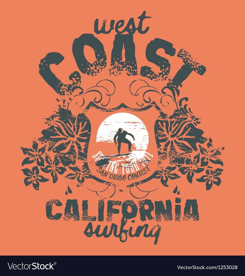 California surfing company Vector Image