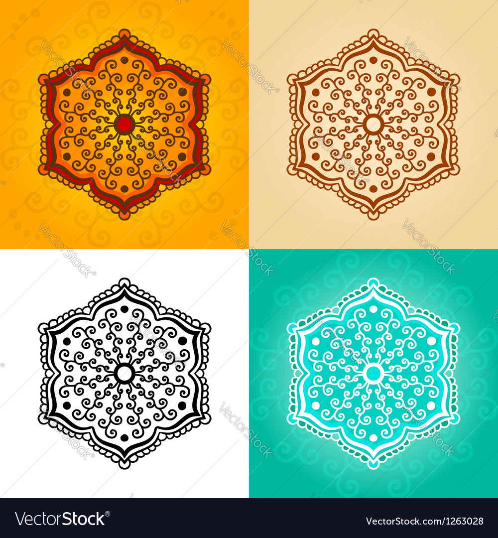 Abstract flowers for henna tattoo vector image