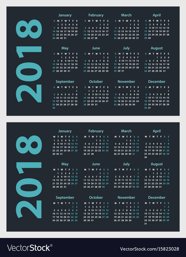 Calendar for 2018 starts sunday and monday vector image