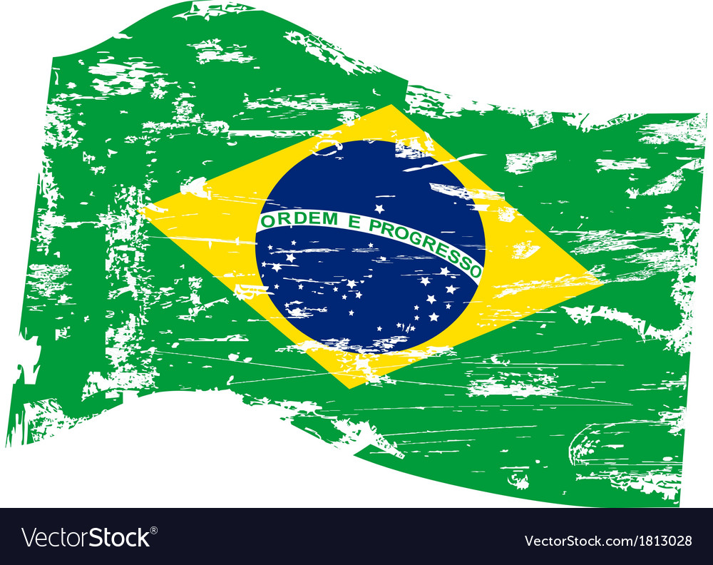 Grungy Brazil flag vector image