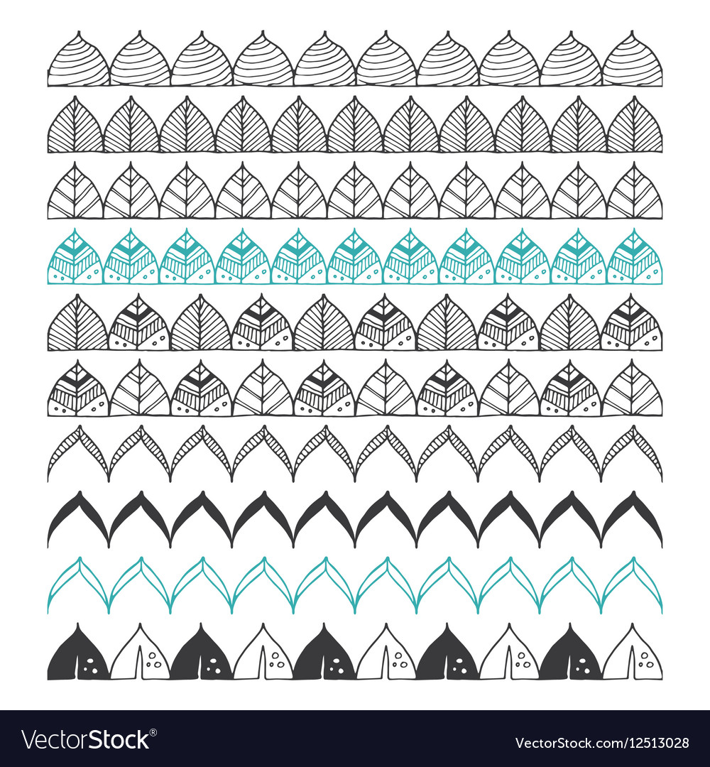 Hand drawn borders design elements pattern brush vector image