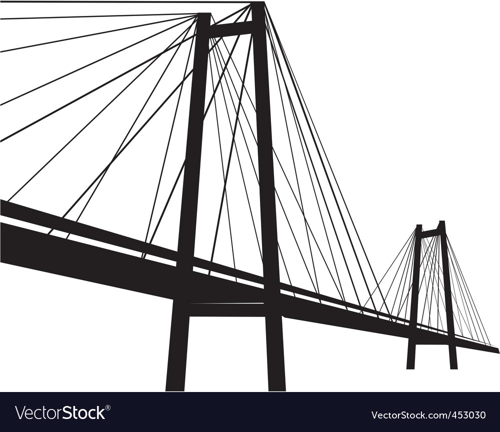 Cable suspension bridge vector image