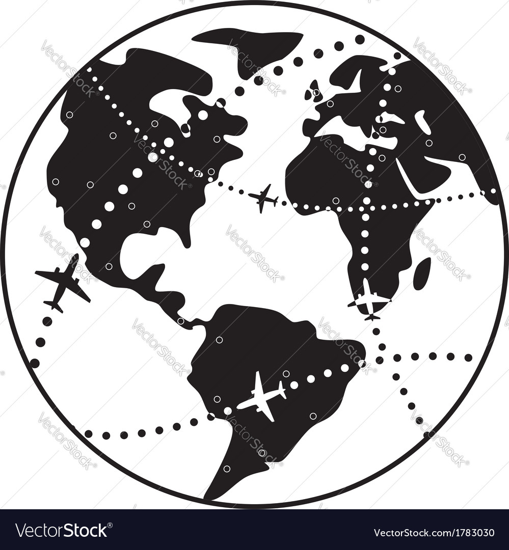 Airplane flight paths over earth globe vector image