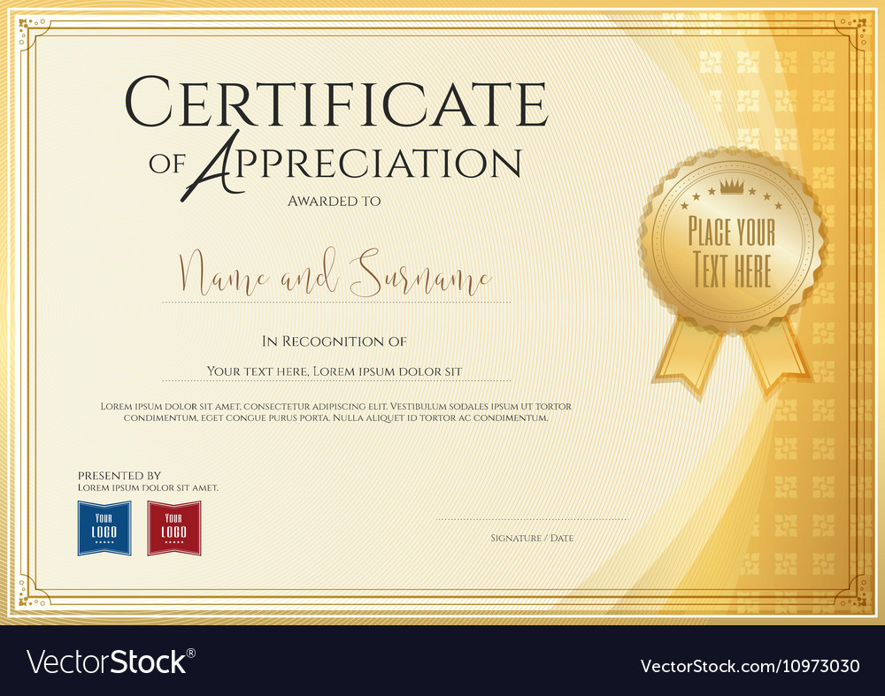 Certificate template for achievement appreciation vector image yadclub Image collections