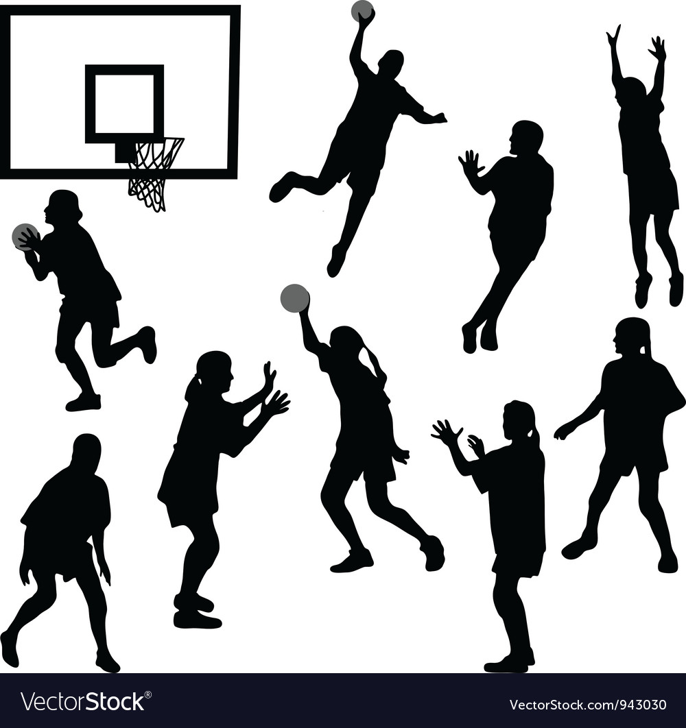 Female basketball silhouettes vector image