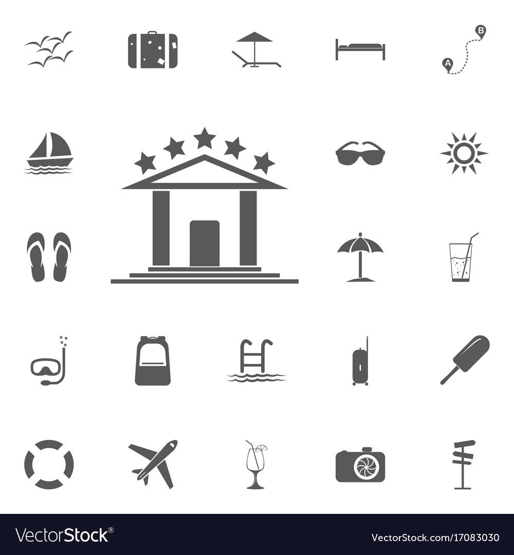 Hotel icon summer set vector image