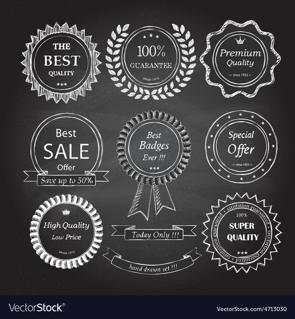 Set of hand drawn badges vector image