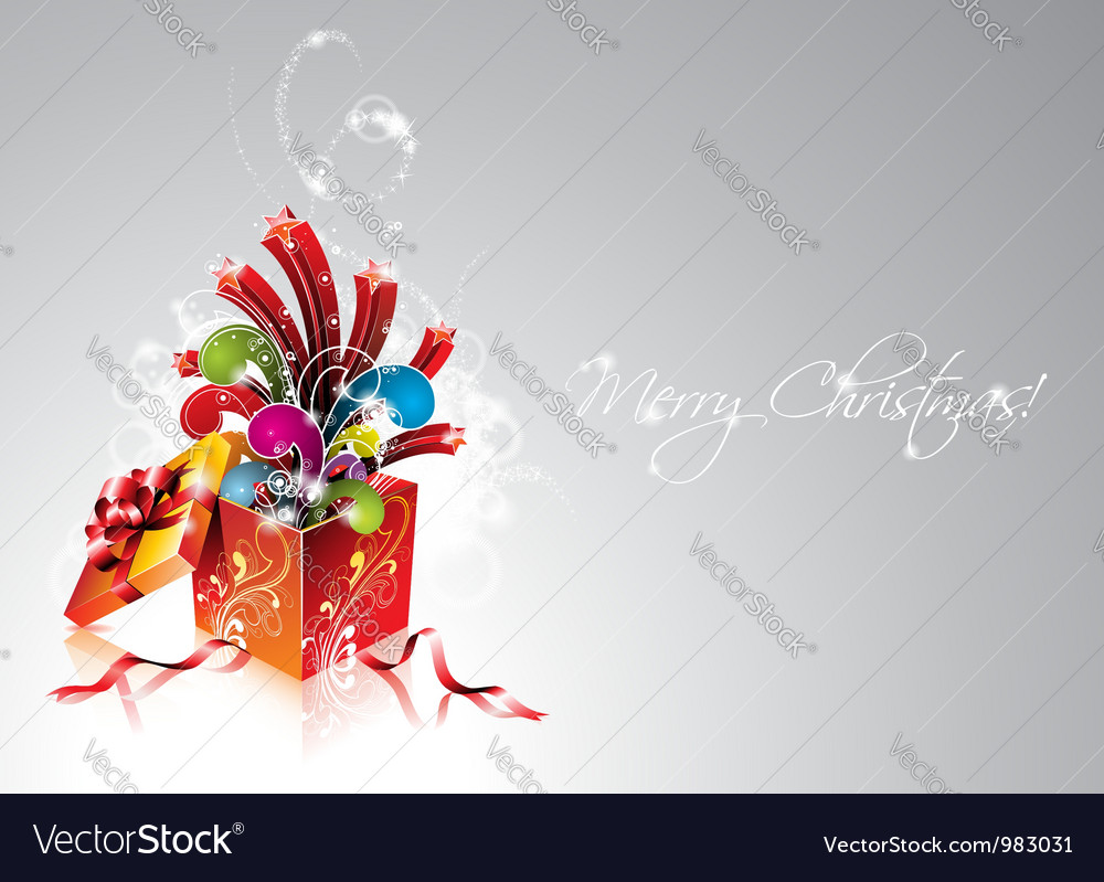 Christmas with magic gift box vector image