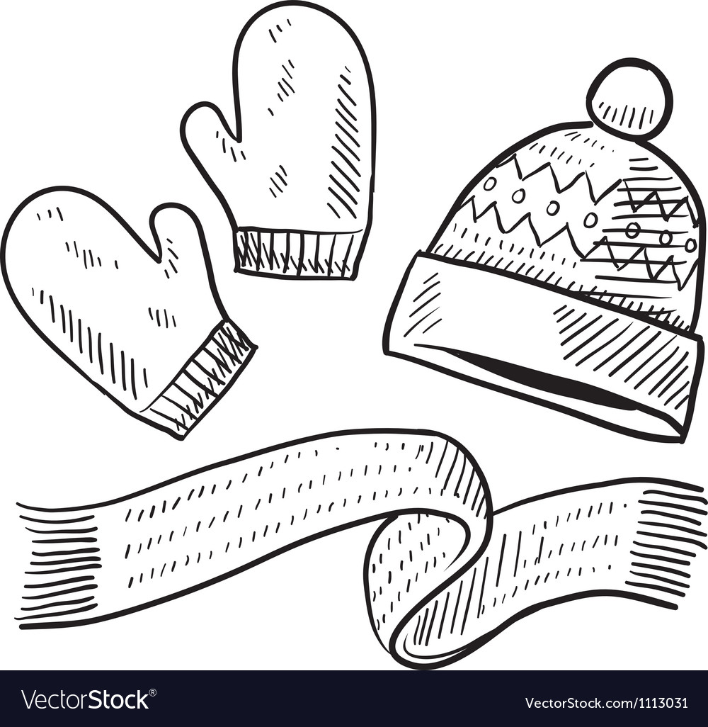 Doodle winter mittens hat scarf Royalty Free Vector Image