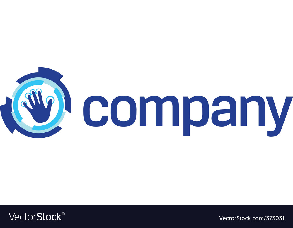 Security technology hand logo vector image
