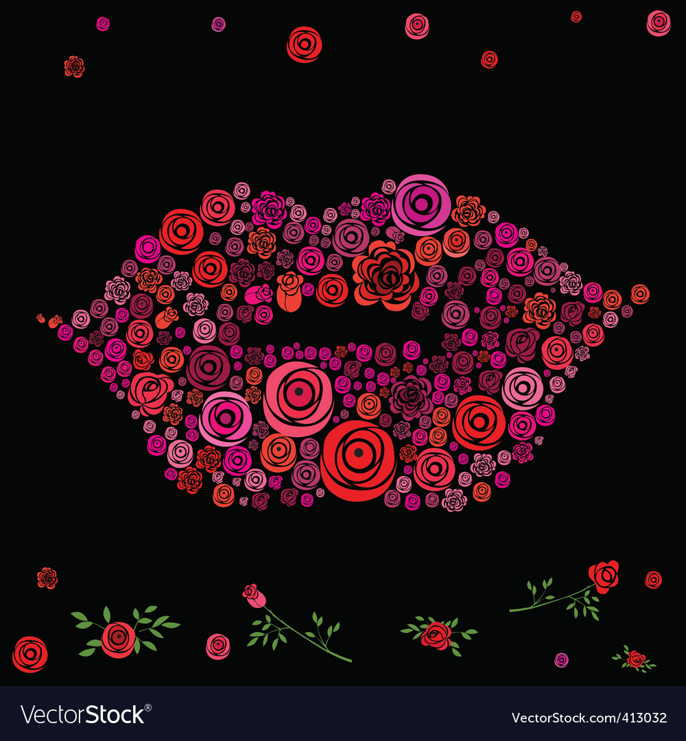 Roses shaped in lips vector image
