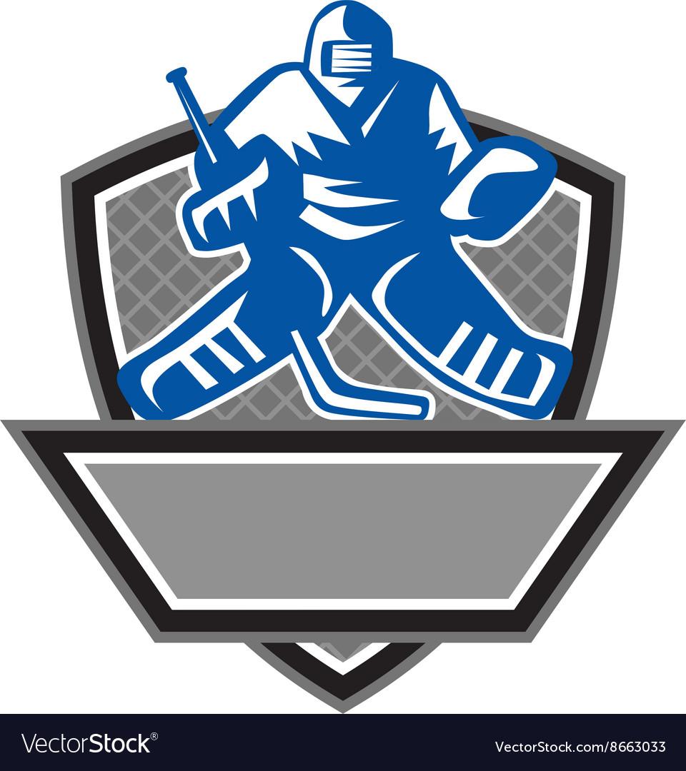 Ice Hockey Goalie Crest Retro vector image