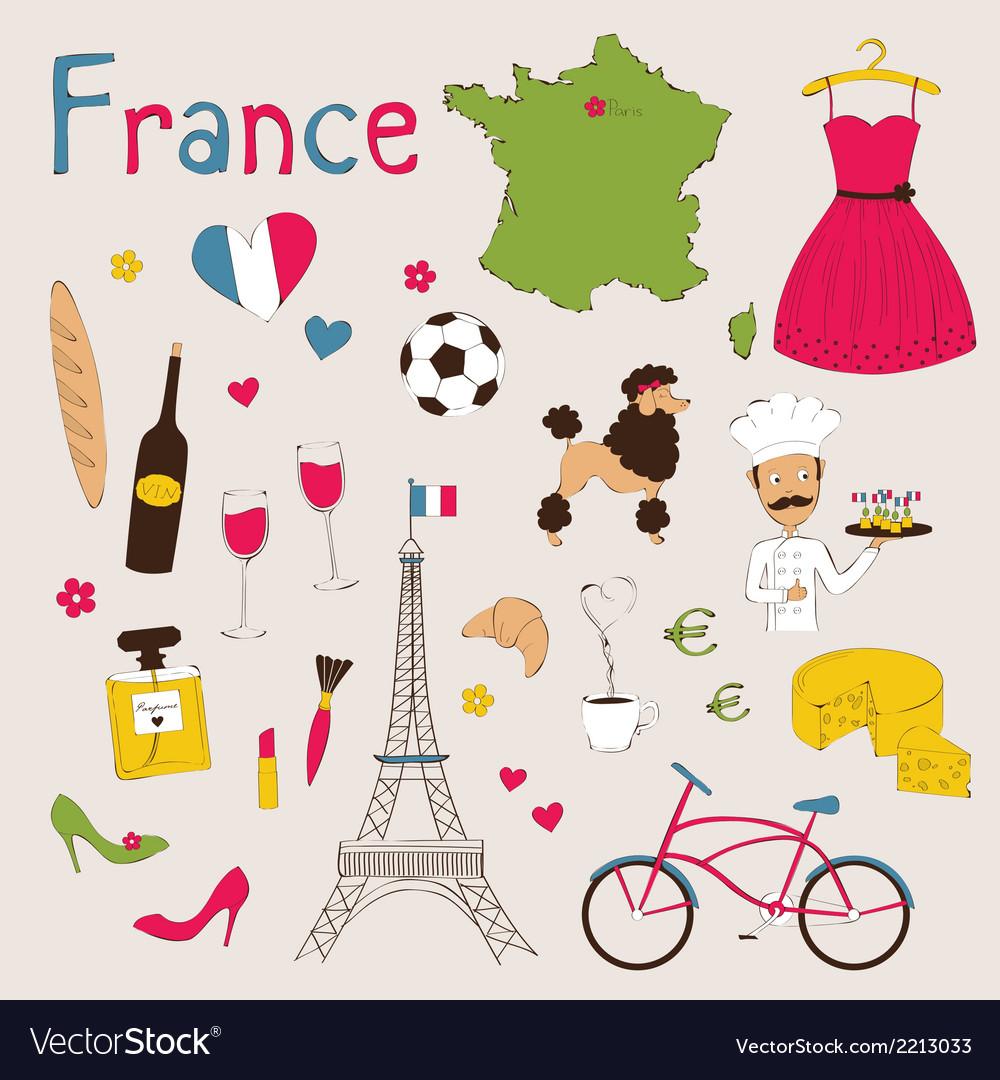 Paris set vector image